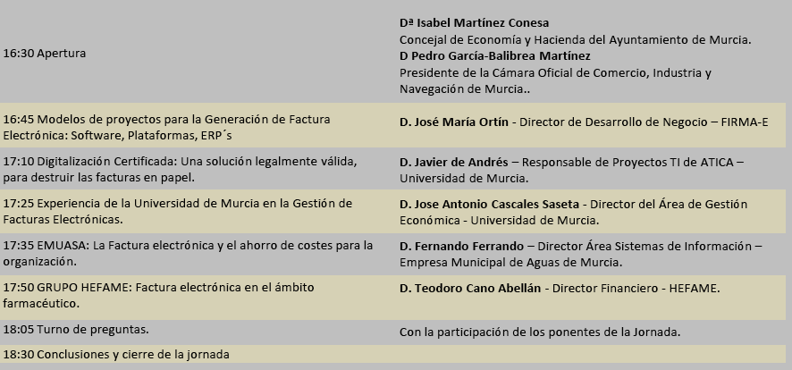 Programación Jornada Factura Electrónica de la Cámara de Comercio de Murcia