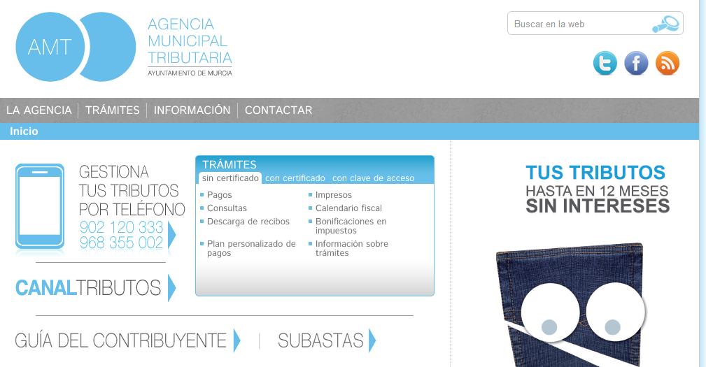 Captura de la portada del nuevo portal y nueva oficina virtual de AMT